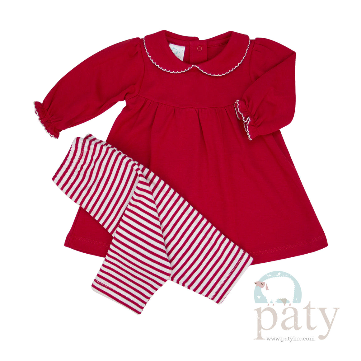 Paty Red Dress with Leggings