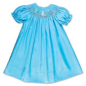 Rosalina Seahorse Trio Aqua Blue Smocked Bishop