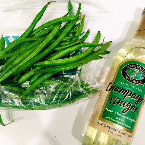 Napa valley naturals champagne vinegar and Whole Foods organic green beans