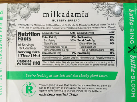 image of Regenerative Farming information shown on back of Milkadamia Macadamia nut butter label