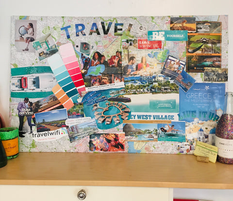 image of my finished DIY travel map vision board