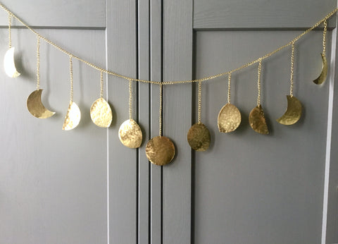 Gold | Hammered Metal Moon Phase Garland