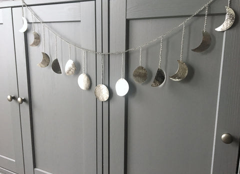 Silver | Hammered Metal Moon Phase Garland