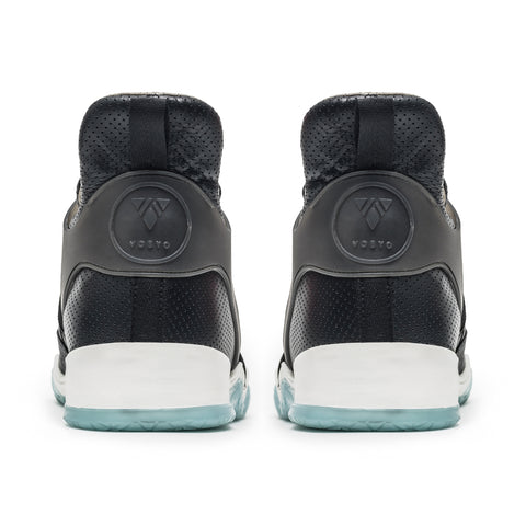 Vobyo Boxing TR - Black/Blue leather sneakers for women, back view. Vobyos are true statement shoes. We are proud to be a  female-founded sneaker brand.