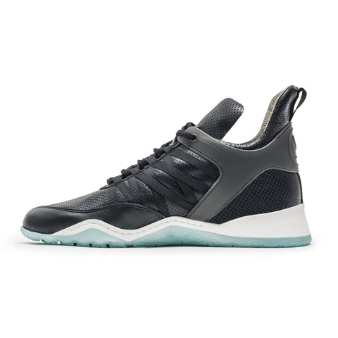 Vobyo Boxing TR - Black/Blue leather sneakers for women, profile shot. Vobyo's are handmade in Portugal with Italian leather.