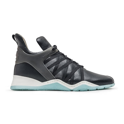Vobyo Boxing TR - Black/Blue leather sneakers for women, profile shot. Wear Vobyo's Black-Blue mid-tops for boxing, lifting, dancing or just with jeans.