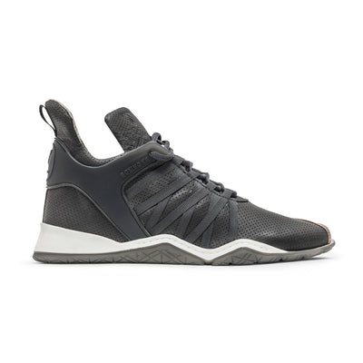 Vobyo Boxing TR - Grey Copper leather sneakers for women, profile shot. Wear Vobyo's Black-Blue mid-tops for boxing, lifting, dancing or just with jeans.