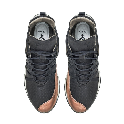 Vobyo Boxing TR -Grey Copper leather sneakers for women, top view. Vobyo's are incredibly comfortable, light and breathable premium women's sneakers