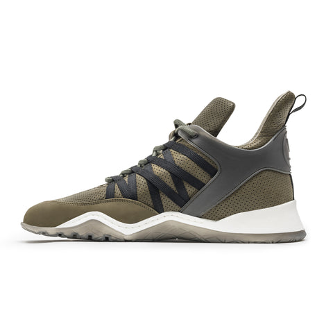 Vobyo Boxing TR - Khaki leather sneakers for women, inside shot. Vobyo's are handmade in Portugal with Italian leather.