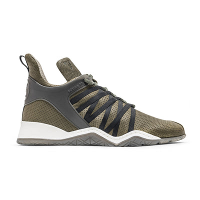 Vobyo Boxing TR - Khaki leather sneakers for women, profile shot. Wear Vobyo's Black-Blue mid-tops for boxing, lifting, dancing or just with jeans.