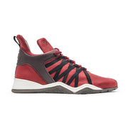 Vobyo Boxing TR - Red leather sneakers for women, outside shot. Wear Vobyo's Black-Blue mid-tops for boxing, lifting, dancing or just with jeans.
