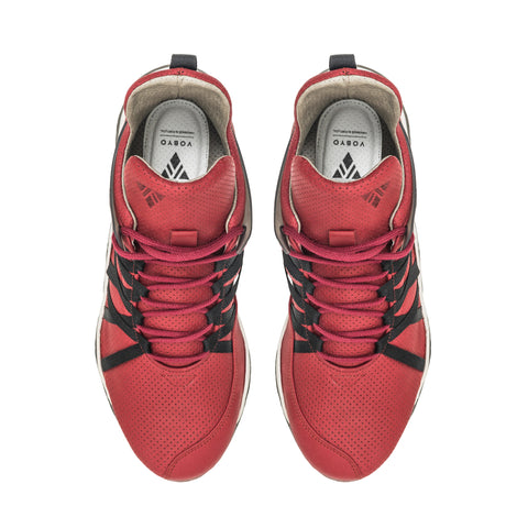 Vobyo Boxing TR - Red leather sneakers for women, upper view. Vobyo's are incredibly comfortable, light and breathable premium women's sneakers