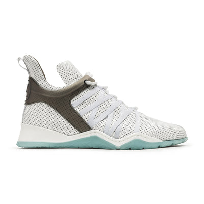 Vobyo Boxing TR - White leather sneakers for women, outside shot. Wear Vobyo's Black-Blue mid-tops for boxing, lifting, dancing or just with jeans.