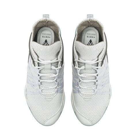 Vobyo Boxing TR - White leather sneakers for women, upper view. Vobyo's are incredibly comfortable, light and breathable premium women's sneakers