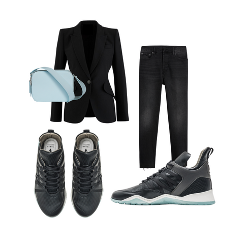 Styling ideas for Vobyo black leather sneakers
