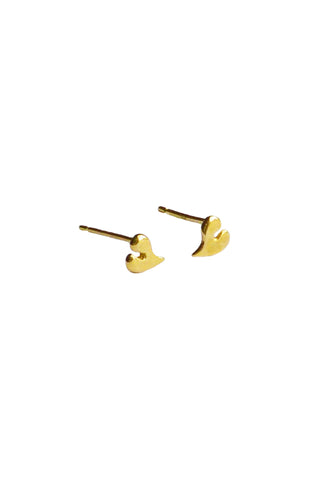 18ct Gold Heart Stud Earrings