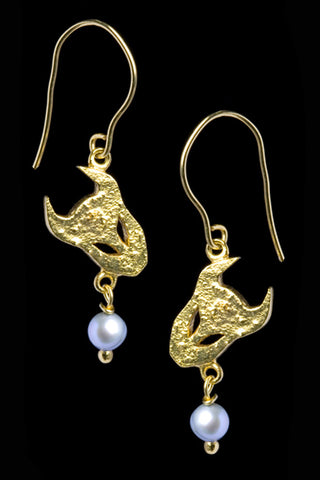 Demon Earrings In Gold Vermeil With Pearls
