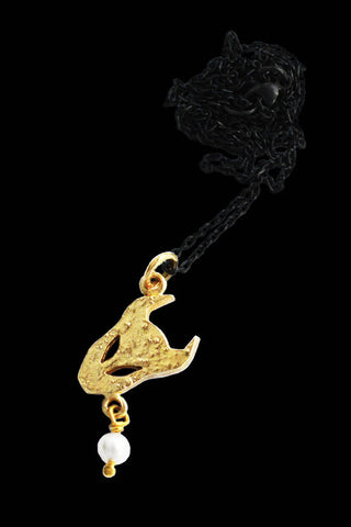 Small Demon Pendant  In Gold Vermeil With Pearl