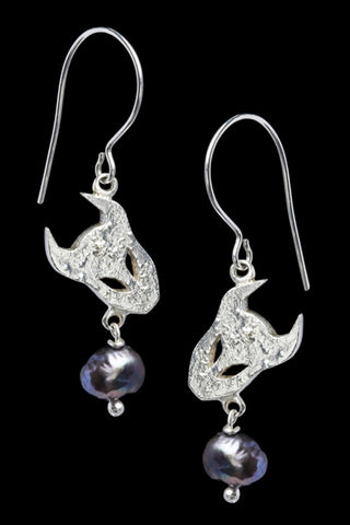 Demon Earrings In Silver With Pearls
