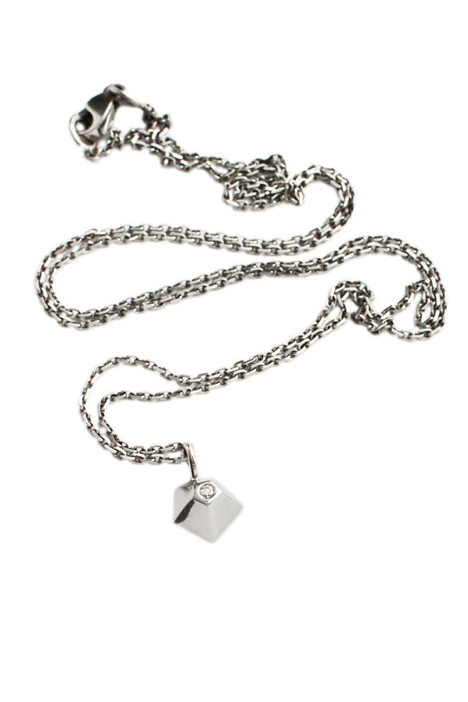 Faceted 18ct White Gold And Diamond Pendant