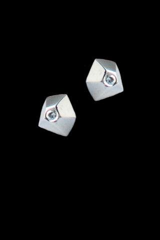 Faceted 18ct White Gold And Diamond Studs