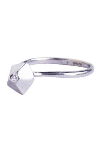 Faceted 18ct White Gold & Diamond Ring