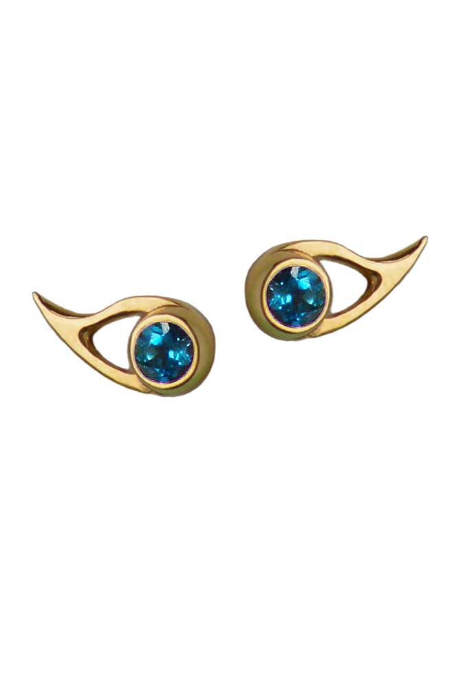Fox Eye Gold Earrings