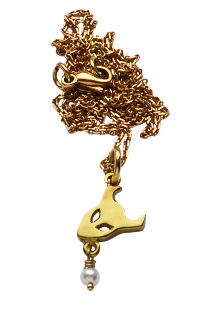 demon pendant in 18ct gold with pearl - annika burman jewellery - 3