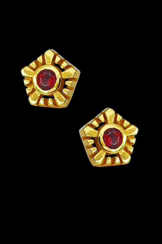 Helia Ear Studs With Garnets - Annika Burman Jewellery  - 1