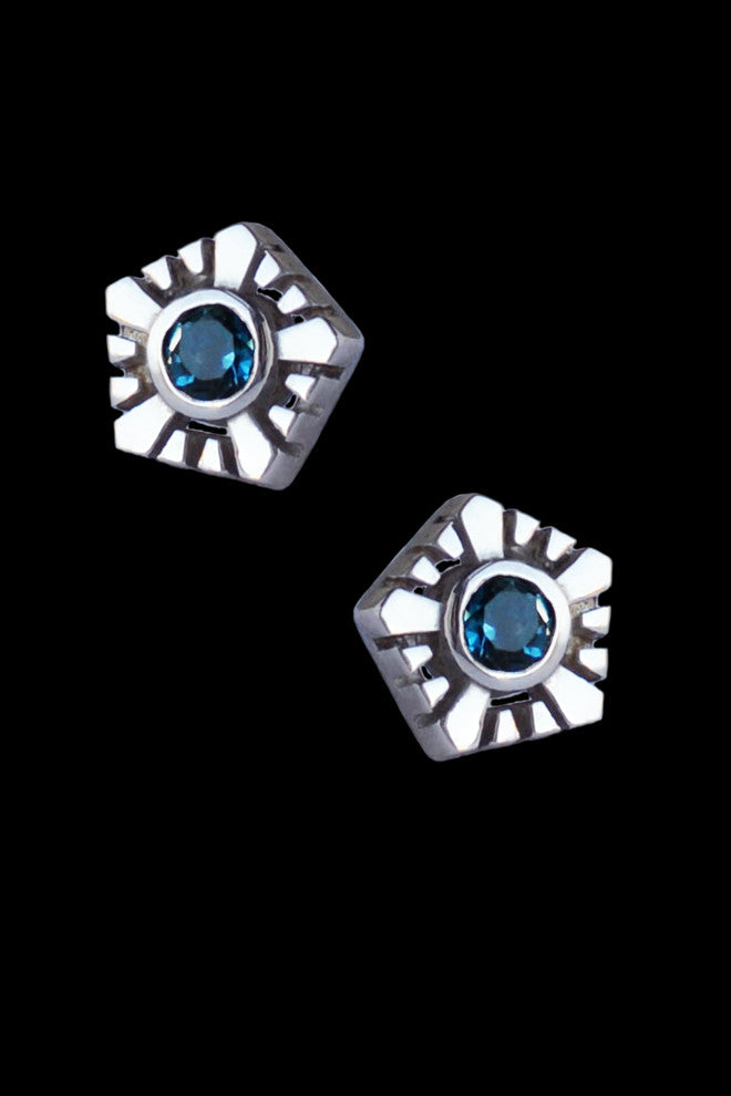 Helia Stud Earrings With Topaz
