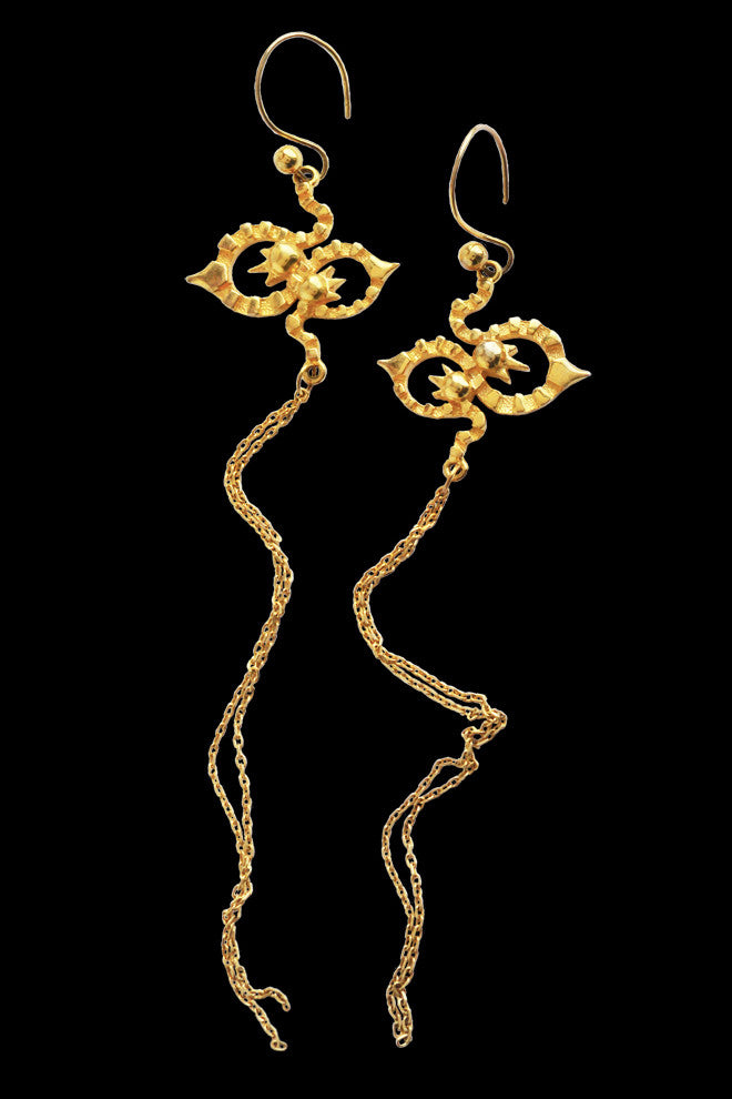 Long Kaleido Earrings In Gold Vermeil - Annika Burman Jewellery  - 1