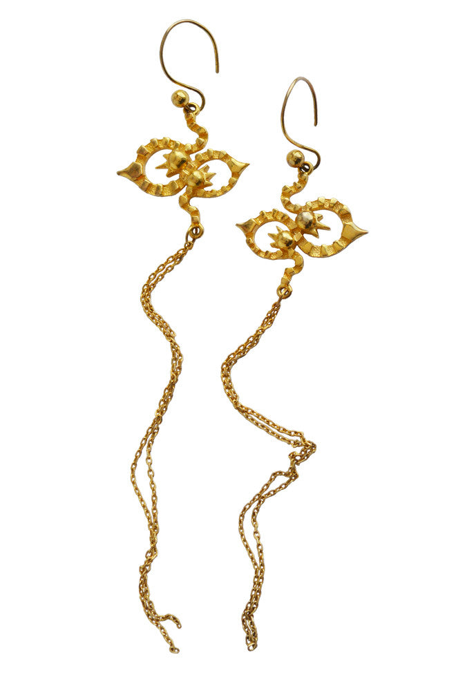 Long Kaleido Earrings In Gold Vermeil - Annika Burman Jewellery  - 4