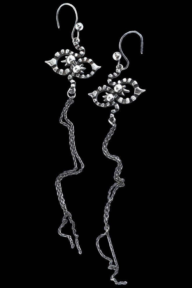 Long Kaleido Earrings In Silver - Annika Burman Jewellery  - 1