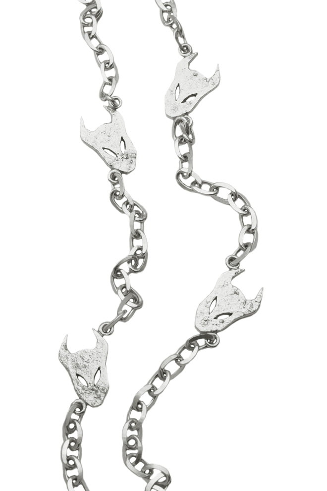 Long Demon Silver Necklace