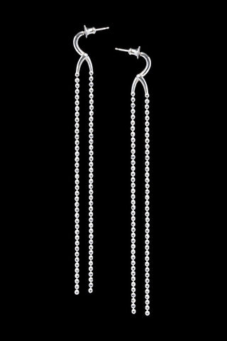 Long Cross Over Silver Earrings