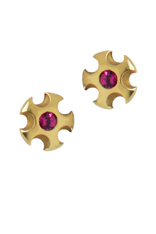 Metropolis Stud Earrings With Rhodolite Garnets