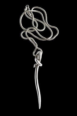 Knotted Tusk Pendant In Silver
