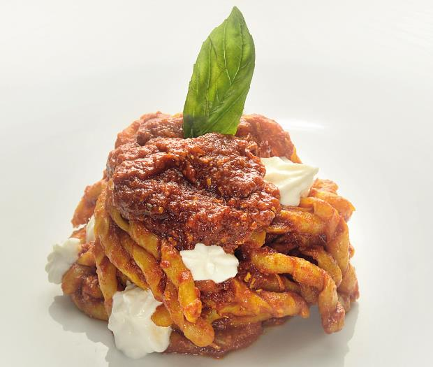 Fusillo Napoletano with Meat Sauce and Baffalo Ricotta Cheese