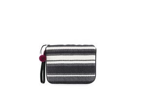 Black and white striped clutch or pouch with violet pom pom detail