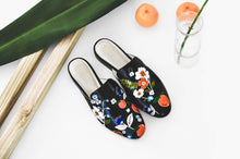 Load image into Gallery viewer, Black hand-painted slippers and mule with orange and flower detail