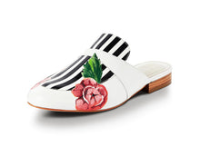 Load image into Gallery viewer, Hand-painted white slippers or mules with striking black line detail and rose motif.