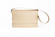 Load image into Gallery viewer, Beige vegan leather clutch with detachable shoulder strap