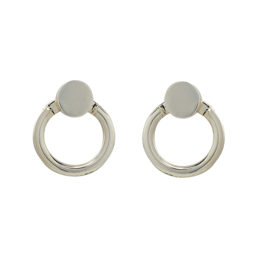 Versatile handcrafted sterling silver earrings with back hoop and option to wear as studs