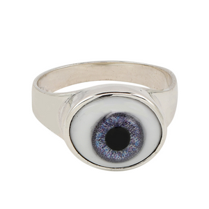 Handcrafted sterling silver ring with glass blue eyeball detail