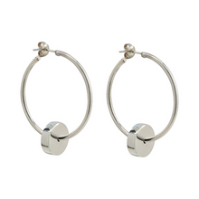 Load image into Gallery viewer, Handcrafted delicate hoop earrings in sterling silver with round disc detail at bottom of hoop