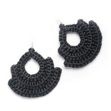 Load image into Gallery viewer, Handmade black woven earrings bell shape with tear shaped hole in middle made with recycled cotton