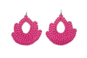 Handmade fuscia woven earrings bell shape with tear shaped hole in middle made with recycled cotton