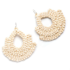 Handmade white woven earrings bell shape with tear shaped hole in middle made with recycled cotton