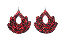 Load image into Gallery viewer, Handmade black and red woven earrings bell shape with tear shaped hole in middle made with recycled cotton