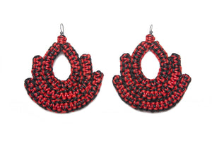 Handmade black and red woven earrings bell shape with tear shaped hole in middle made with recycled cotton